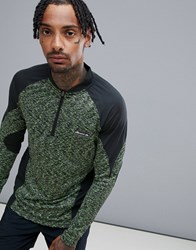 Ellesse Sports Bastio Long Sleeve T Shirt With Space Dye Print In Green