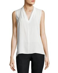 T Tahari Lace Trimmed Sleeveless Blouse White