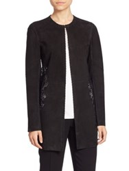 Elie Tahari Ellis Suede And Lace Coat Black