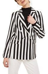 Topshop Women's Ella Stripe Suit Jacket Black Multi