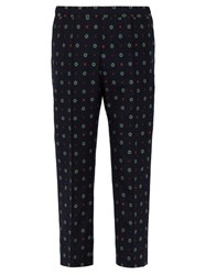 Gucci Patterned Cotton Blend Trousers Navy