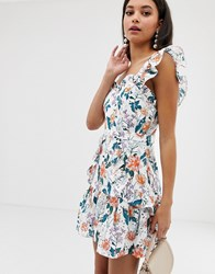 Talulah Fly Away Floral Print Dress With Broderie Anglaise White