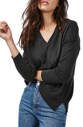 Topshop Women's Slouchy V Neck Sweater Charcoal