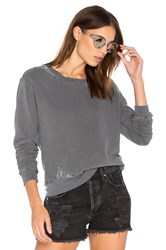 Stateside French Terry Sweatshirt With Lace Charcoal