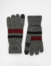 Fred Perry Cable Tipped Touch Gloves Grey
