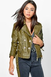 Boohoo Belted Button Faux Leather Jacket Khaki