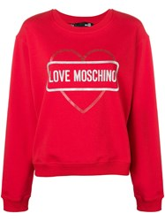 Love Moschino Logo Heart Print Sweatshirt Red