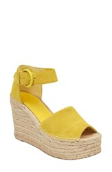 Marc Fisher Ltd Alida Espadrille Platform Wedge Yellow Suede