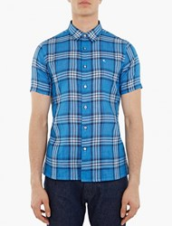 Raf Simons Blue Check Short Sleeved Shirt