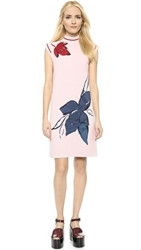Suno Mock Neck Floral Intarsia Knit Dress Light Pink Black