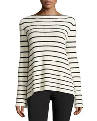 The Row Breton Striped Knit Sweater White Pattern
