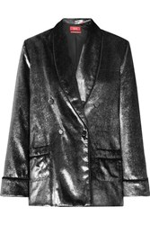 F.R.S For Restless Sleepers Ate Double Breasted Metallic Velvet Blazer Silver