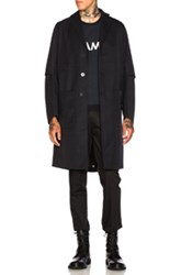 Oamc Airborne Trench Coat In Blue