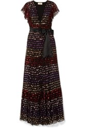Temperley London Wendy Belted Ruffled Sequined Tulle Gown Black