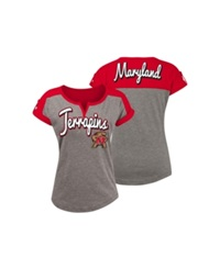 5Th And Ocean Women's Maryland Terrapins Rolled Sleeve T Shirt Gray
