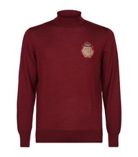 Billionaire Patch Turtleneck Sweater Male Burgundy