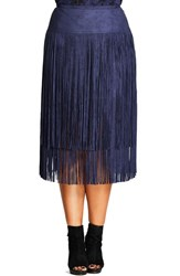 City Chic Plus Size Women's Woodstock Tiered Fringe Faux Suede Skirt Blue Indigo