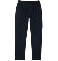 Barena Tapered Pinstriped Virgin Wool And Cotton Blend Trousers Blue