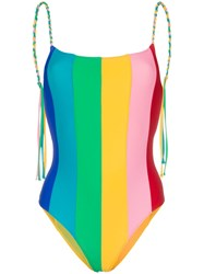 Paper London Backless Rainbow Swimsuit Multicoloured