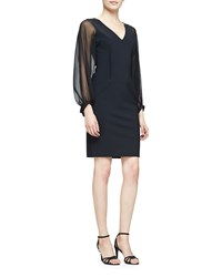 Rickie Freeman For Teri Jon Long Sheer Sleeve Sheath Cocktail Dress Women's
