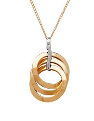 Lord And Taylor Gold Rush 14K Two Tone Gold Triple Open Knot Circle Pendant Necklace