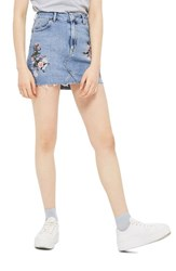 Topshop Women's Embriodered Denim Miniskirt Mid Denim