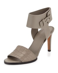 Vince Antonia Mid Heel Leather Sandal Pewter Silver
