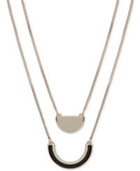 Dkny Gold Tone And Colored Plastic Double Row Pendant Necklace Created For Macy's Black