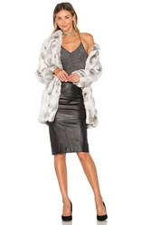 Adrienne Landau Rabbit Fur Coat Grey