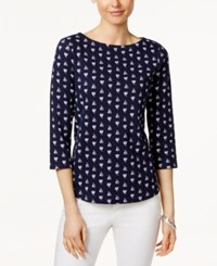 Charter Club Sailboat Print Boat Neck Top Only At Macy's Intrepid Blue Combo