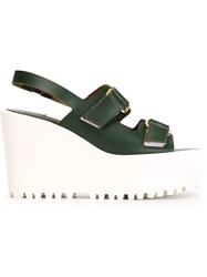 L'autre Chose Wedge Sandals Green