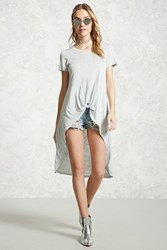 Forever 21 Knotted Hem High Low Tee Heather Grey