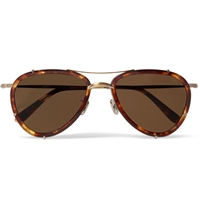 Eyevan 7285 Tortoiseshell Aviator Sunglasses Brown