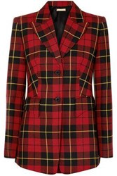 Michael Kors Collection Woman Checked Wool Twill Blazer Red
