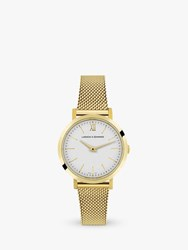 Larsson And Jennings 'S Classic Mesh Bracelet Strap Watch Gold White Lx26 Mgd Gw