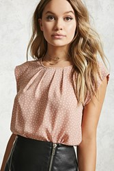 Forever 21 Pleated Triangle Print Blouse