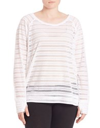Marc New York Open Knit Striped Raglan Top White