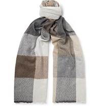 Begg And Co Brodick Busby Checked Cashmere Scarf Beige