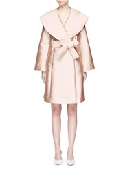 Oversized Collar Belted Bonded Twill Coat Neutral