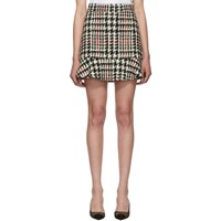 Red Valentino White And Black Check Tweed Miniskirt