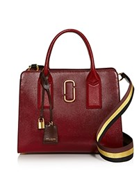 Marc Jacobs Big Shot Color Block Saffiano Leather Satchel Deep Maroon Multi Gold