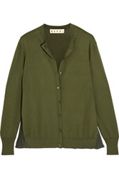 Marni Plisse Paneled Cotton Blend Cardigan Green