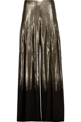 Oscar De La Renta Pleated Metallic Glittered Silk Blend Wide Leg Pants Black