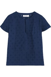 Mih Jeans Broderie Anglaise Cotton Top Blue