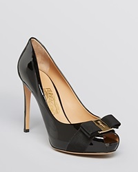 Salvatore Ferragamo Peep Toe Platform Pumps Plum High Heel