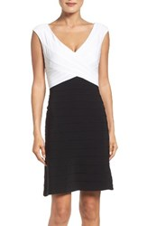 Adrianna Papell Women's Two Tone Banded Jersey Fit And Flare Dress