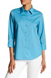Foxcroft 3 4 Length Sleeve Shaped Fit Shirt Blue