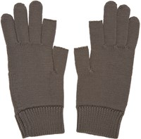 Rick Owens Grey Knit Gloves