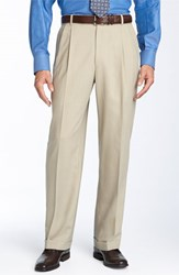 Men's Big And Tall Ballin Double Reverse Pleated Wool Twill Trousers Khaki