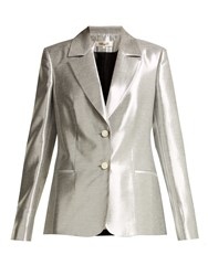 Diane Von Furstenberg Single Breasted Twill Blazer Silver
